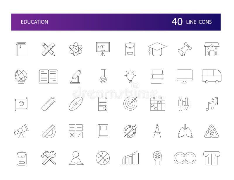 Kreskowe ikony ustawiać Edukaci paczka ilustracji