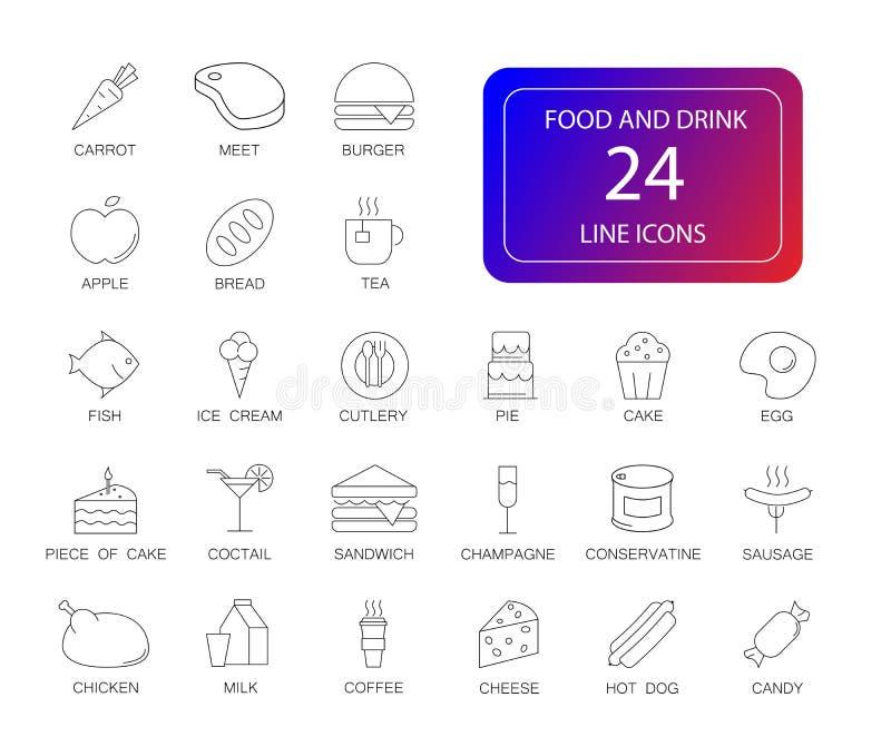 Kreskowe ikony ustawiać Jedzenia i napoju paczka ilustracja wektor