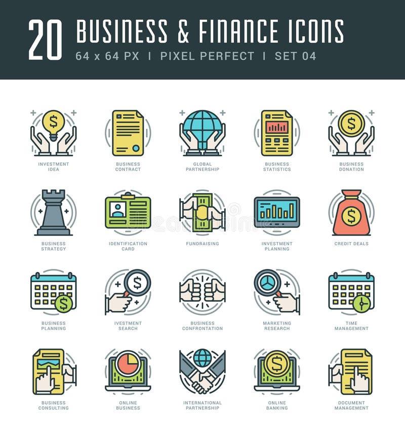 Kreskowe ikony ustawiać Modnego Nowożytnego mieszkania cienkiego liniowego uderzenia finanse i biznesu wektorowy pojęcie royalty ilustracja