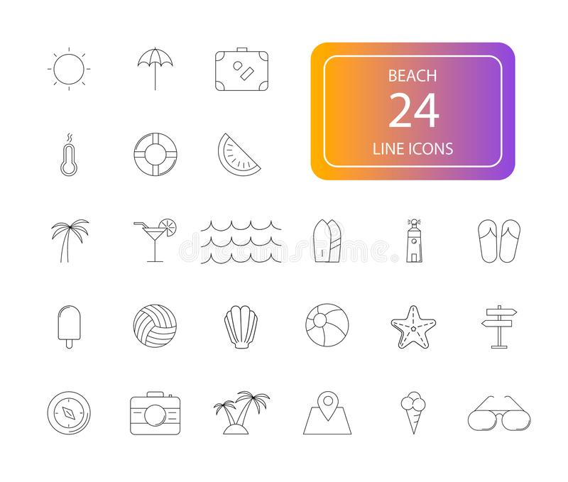 Kreskowe ikony ustawiać Plażowa paczka ilustracji