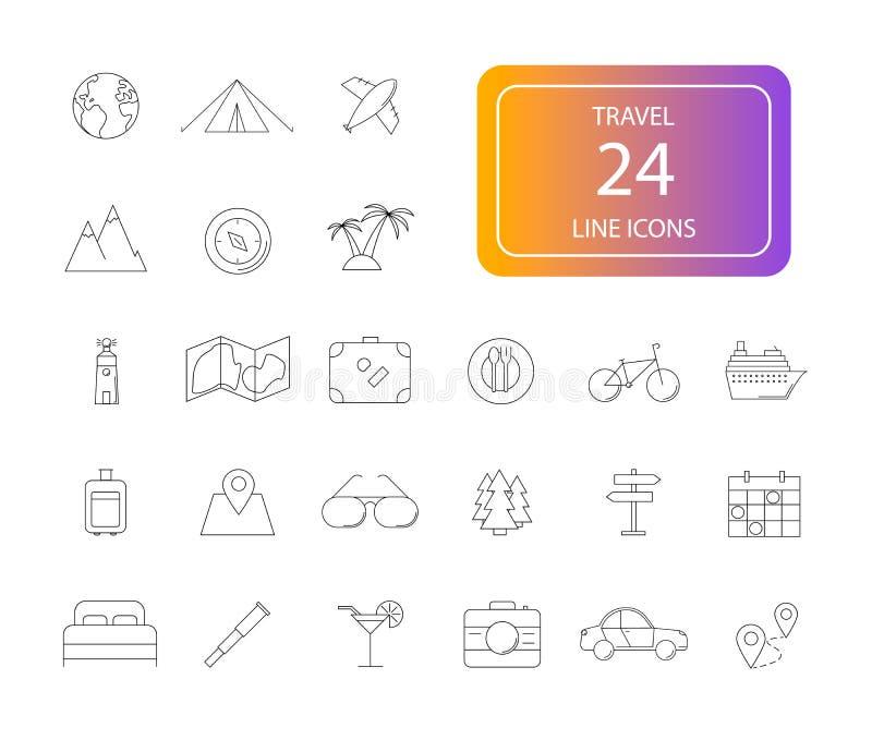 Kreskowe ikony ustawiać Podróży paczka ilustracji