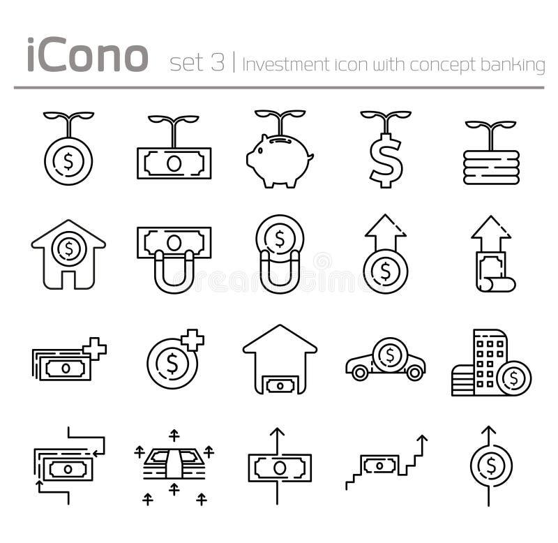 Kreskowe ikony ustawiać w płaskiej projekt inwestyci z pojęcie bankowością royalty ilustracja