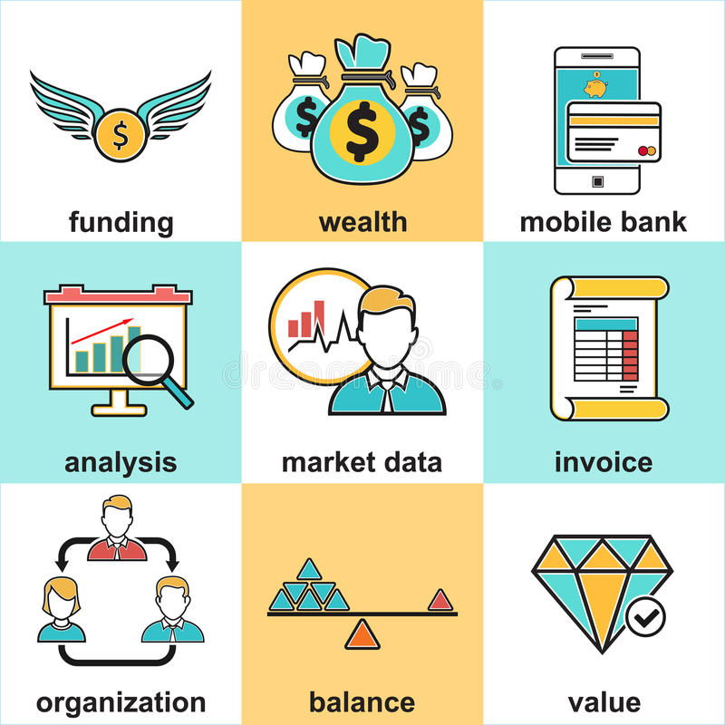 Kreskowe ikony ustawiać z płaskimi projektów elementami pieniężna inwestycja royalty ilustracja