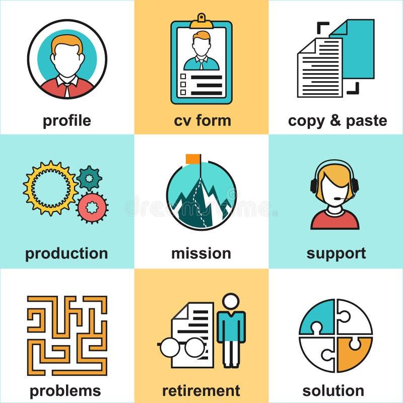 Kreskowe ikony z płaskimi projektów elementami obsługa klienta, klienta poparcie, sukcesu zarządzanie przedsiębiorstwem royalty ilustracja