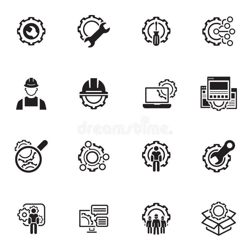 Kreskowe inżynierii ikony royalty ilustracja