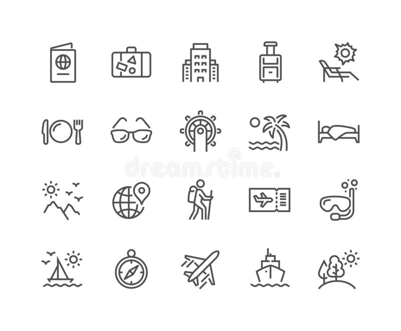 Kreskowe podróży ikony royalty ilustracja