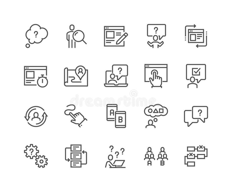 Kreskowe UI i UX ikony ilustracja wektor