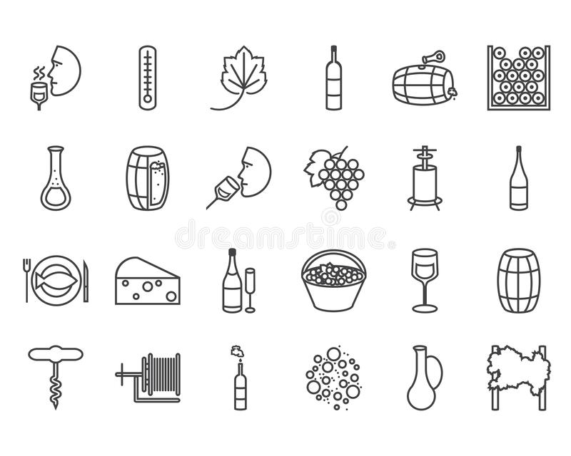Kreskowe wino ikony ilustracja wektor