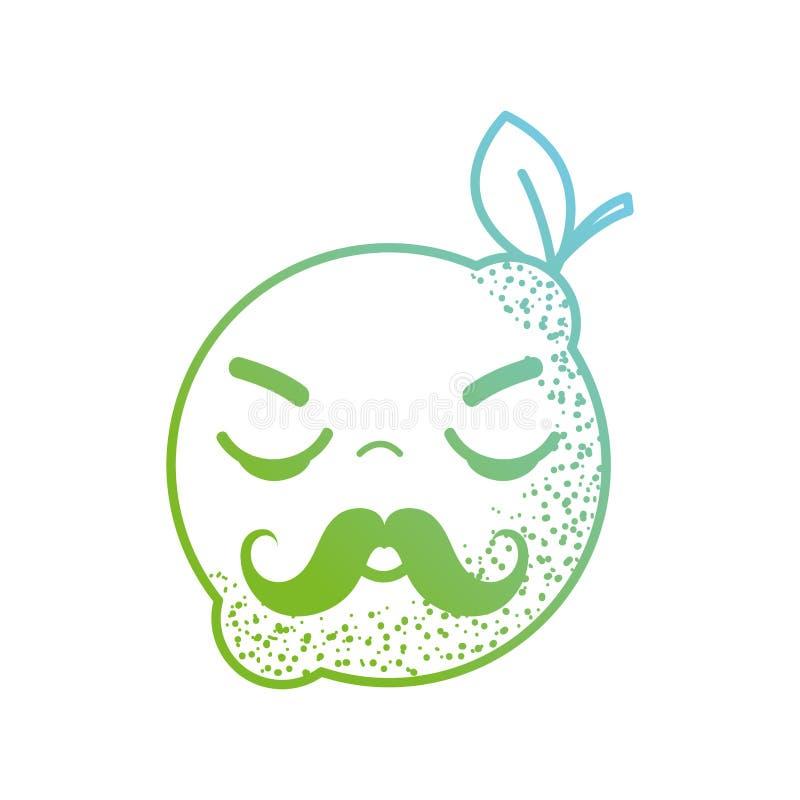 Kreskowego kawaii śliczna gniewna cytryna royalty ilustracja