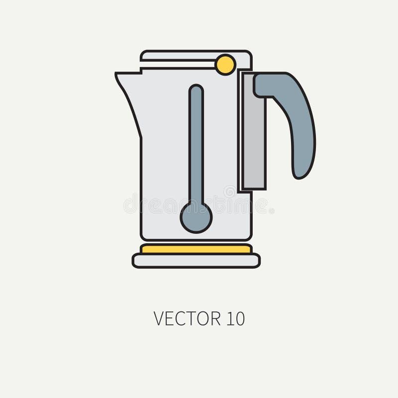Kreskowego koloru kitchenware wektorowe ikony - elektryczny czajnik Cutlery narzędzia Kreskówka styl Ilustracja i element dla twó royalty ilustracja