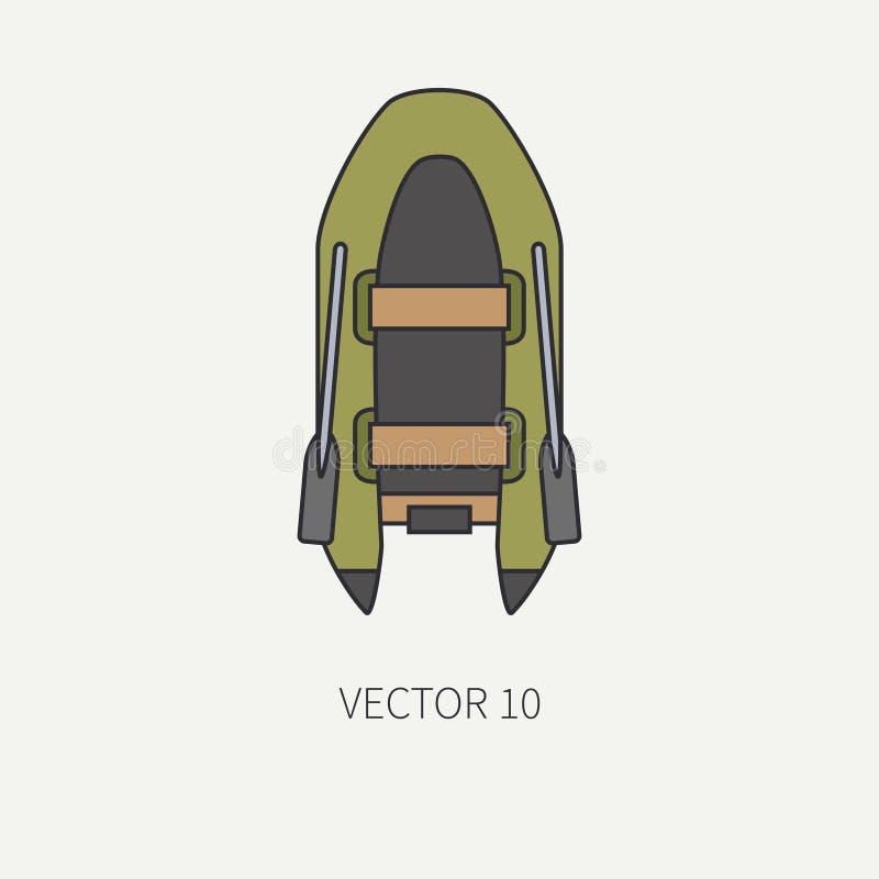 Kreskowego płaskiego koloru wektorowy fisher i campingowej ikony nadmuchiwana gumowa łódź Rybaka wyposażenie Retro kreskówka styl ilustracja wektor
