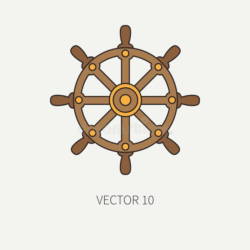 Kreskowego płaskiego wektorowego koloru morska ikona z nautycznymi projektów elementami - kierownica Kreskówka styl ilustracja i ilustracja wektor
