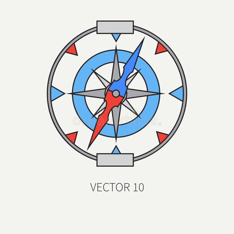 Kreskowego płaskiego wektorowego koloru morska ikona z nautycznymi projektów elementami - retro kompas Kreskówka styl ilustracja  royalty ilustracja