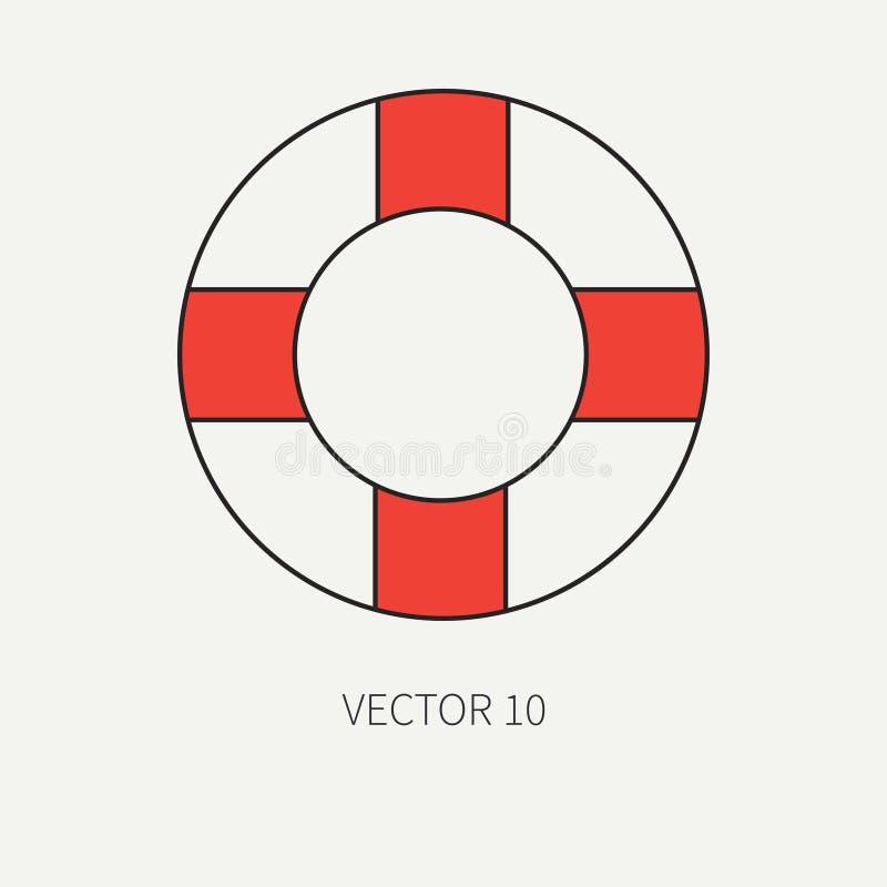 Kreskowego płaskiego wektorowego koloru morska ikona z nautycznymi projektów elementami - retro lifebuoy Kreskówka styl ilustracj ilustracja wektor