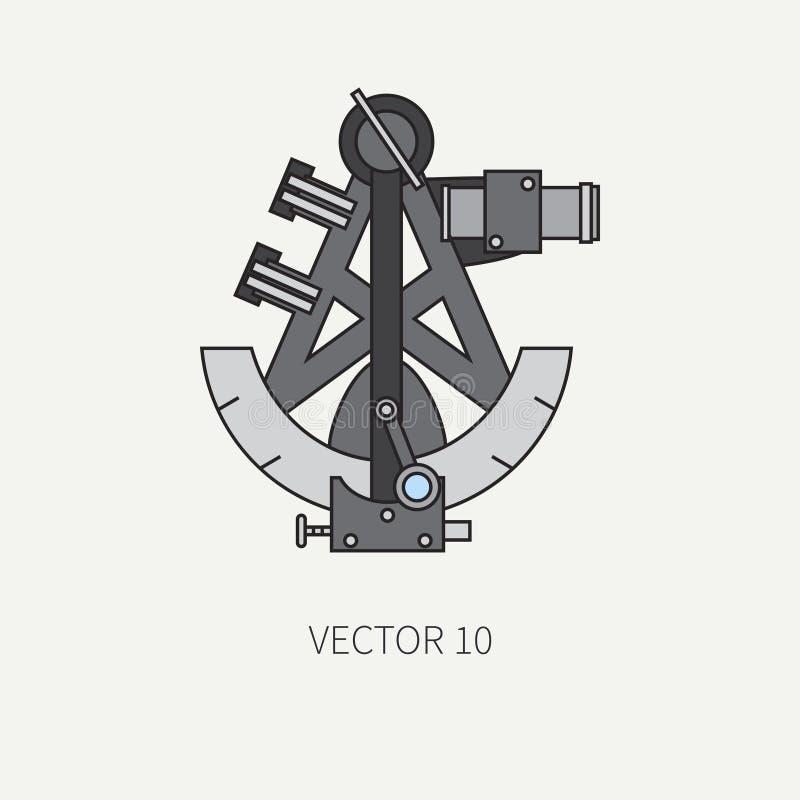 Kreskowego płaskiego wektorowego koloru morska ikona z nautycznymi projektów elementami - retro sextant Kreskówka styl ilustracja ilustracji