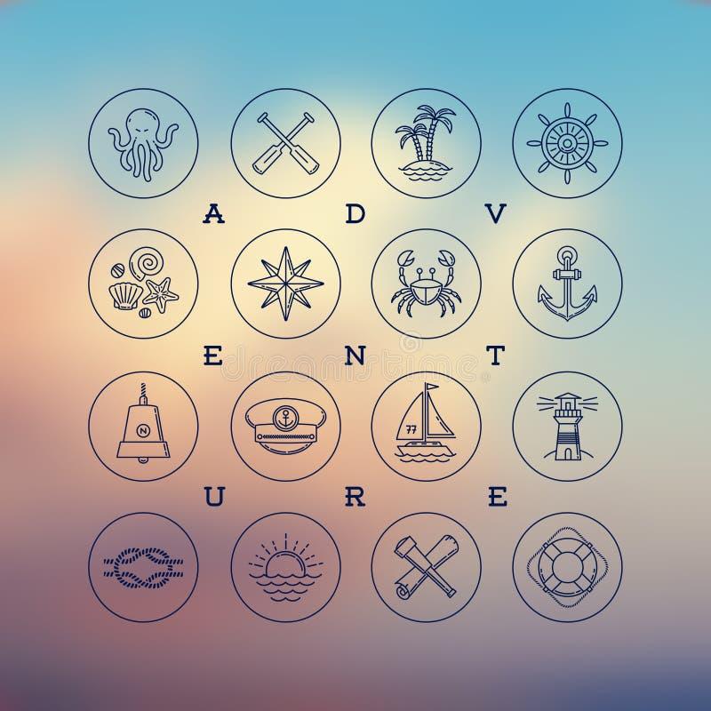 Kreskowego rysunku ikony podróż, przygody i nautyczni znaki -, ilustracja wektor