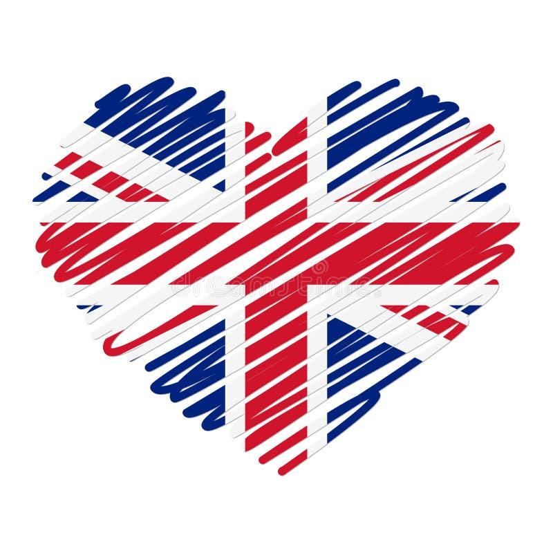 Kreskowego rysunku serce - UK ilustracji