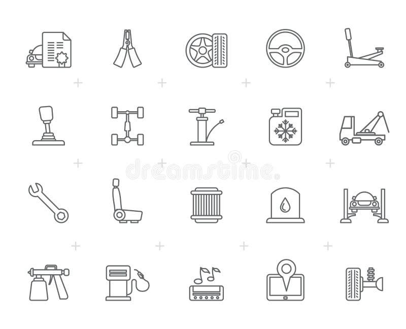 Kreskowego samochodu usługowe i samochodowe części ikony ilustracja wektor