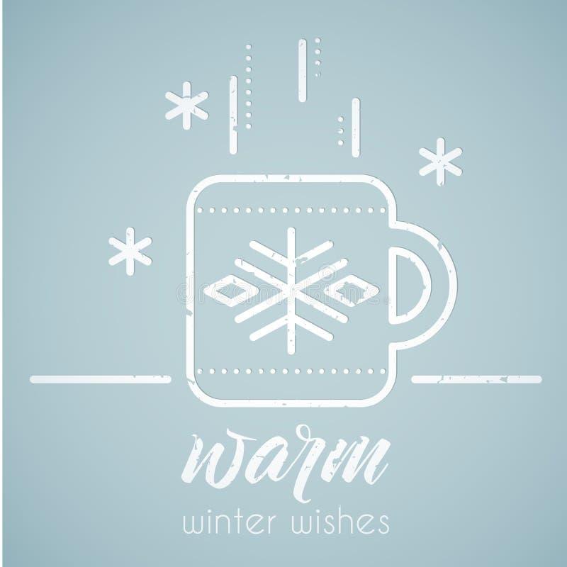 Kreskowego stylu emblemat z stylizowanym gorącym herbacianym kubkiem ilustracji