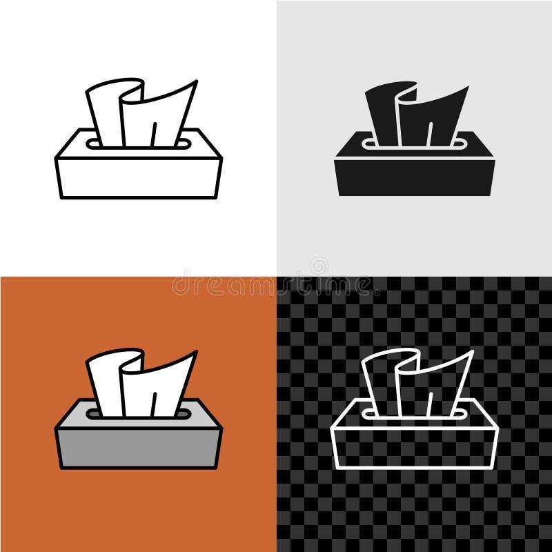 Kreskowego stylu tkanki papierowego pudełka ikona ilustracja wektor