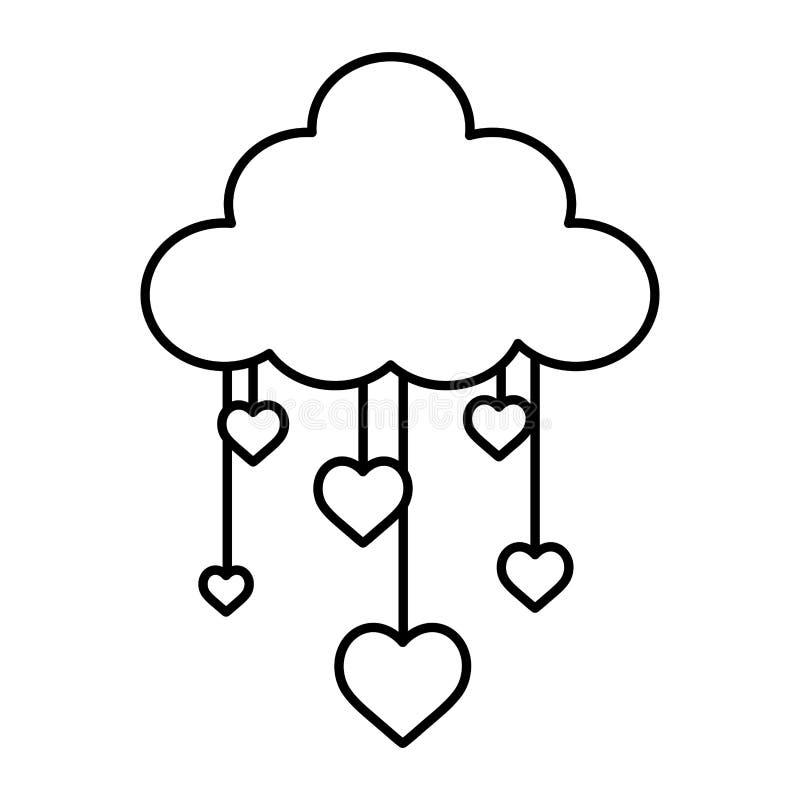 Kreskowej natury obwieszenia i chmury puszyści serca royalty ilustracja