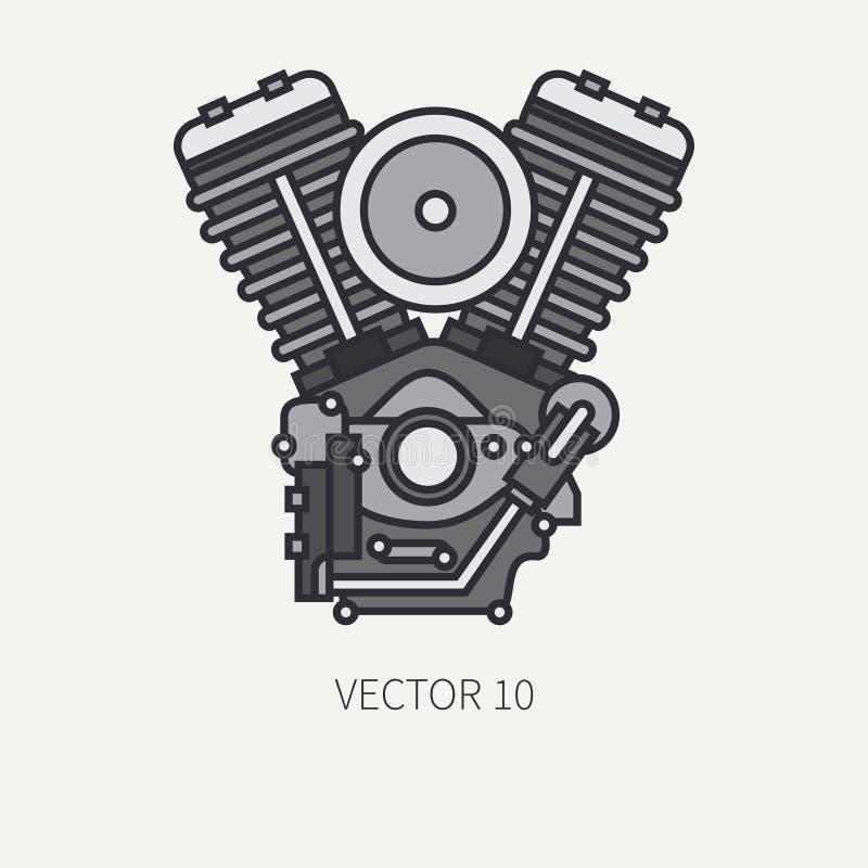 Kreskowej płaskiej koloru motocyklu wektorowej ikony roweru v władzy klasyczny silnik Legendarny retro Kreskówka styl Rowerzysty  ilustracji