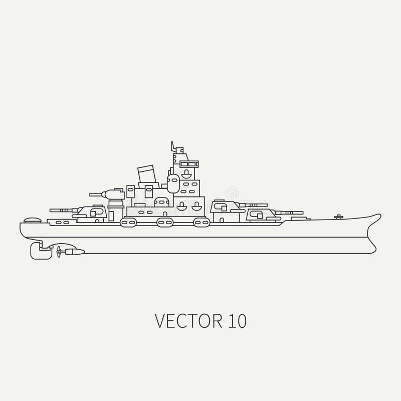 Kreskowej płaskiej wektorowej retro ikony morski pancernik Dreadnought okręt wojenny Kreskówka rocznika styl Wojna Marynarka woje royalty ilustracja