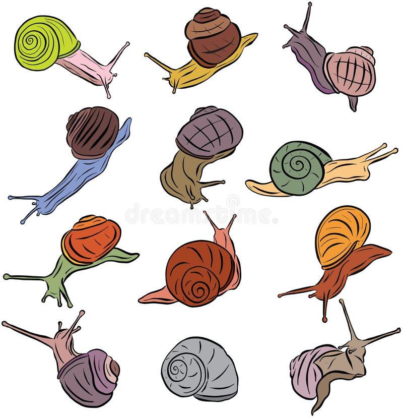 Kreskowej sztuki ślimaczka Ilustracyjni wektory royalty ilustracja