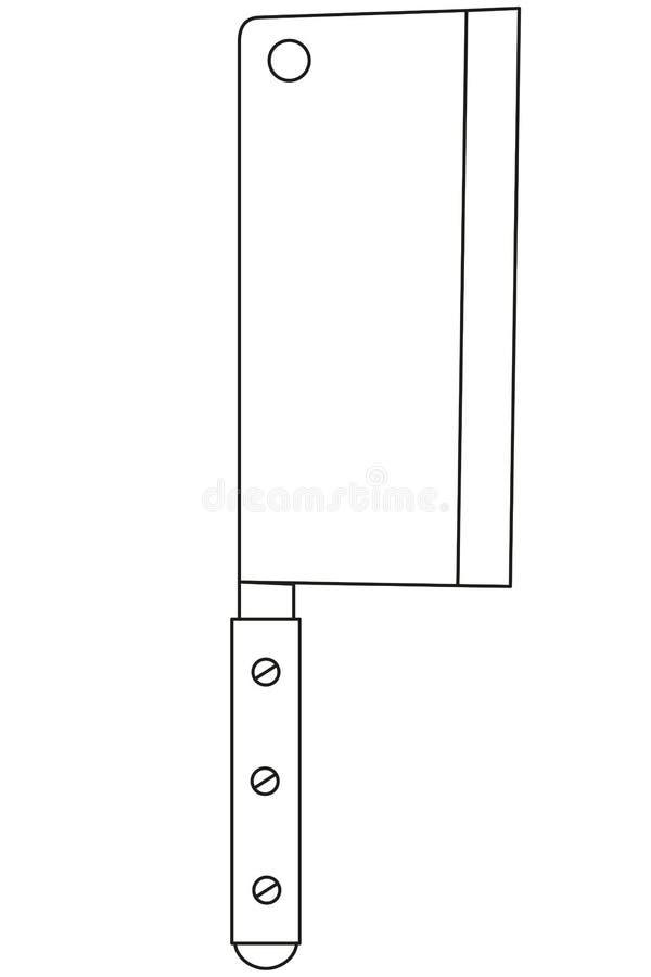 Kreskowej sztuki bbq czarny i biały nóż ilustracji