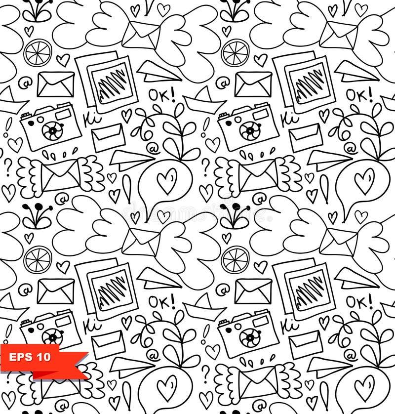 Kreskowej sztuki bezszwowy wzór Wektorowy doodle tło z listami, sercami i innymi ślicznymi szczegółami, ilustracja wektor