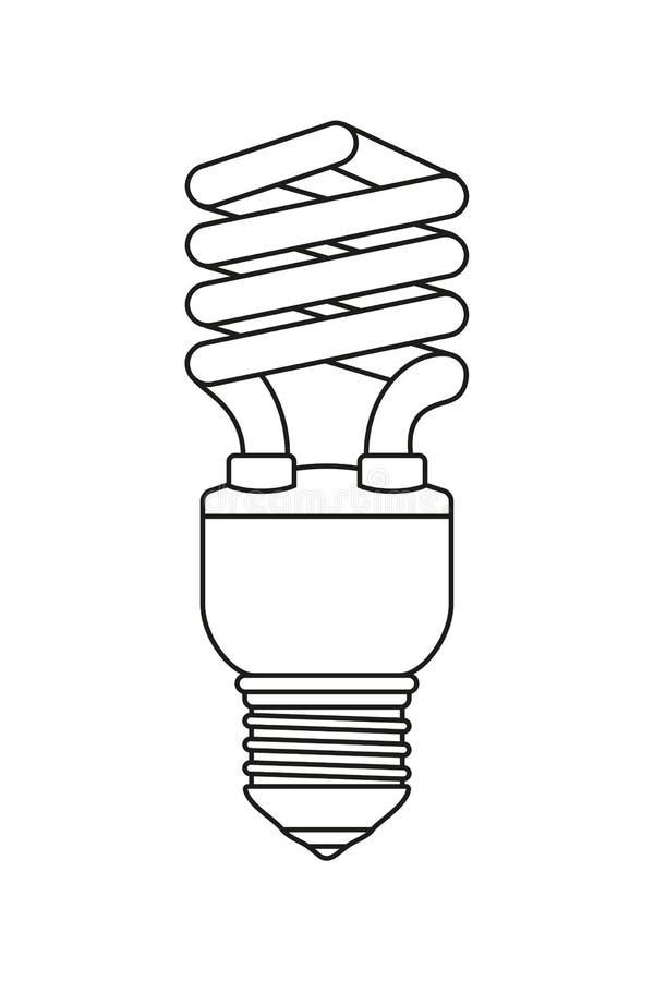 Kreskowej sztuki czarny i biały fluorescencyjna żarówka ilustracja wektor