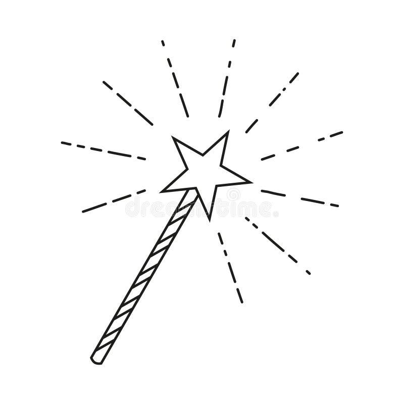 Kreskowej sztuki czarny i biały gwiazdowa magiczna różdżka ilustracji