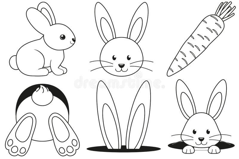 Kreskowej sztuki czarny i biały królika ikony marchwiany set ilustracji