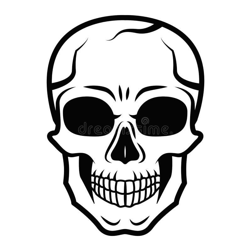 Kreskowej sztuki czerni czaszka odizolowywająca na białym tle Konturu styl Tatuaż Nowożytny druk Barwić dla dorosłych royalty ilustracja
