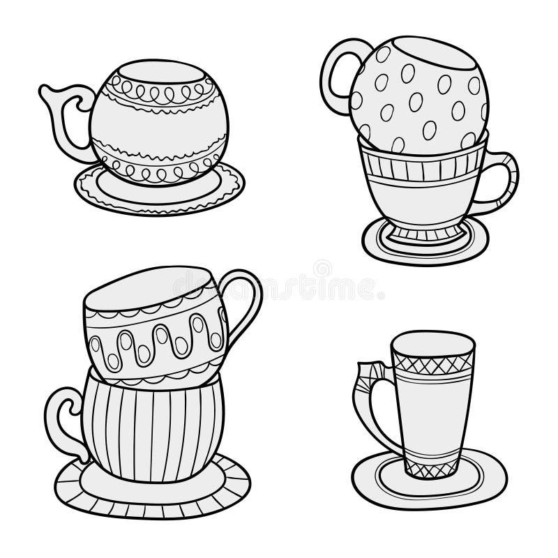 Kreskowej sztuki filiżanki Herbaciane filiżanki w nakreślenie wektorze projektują dla kolorystyki książki ilustracji