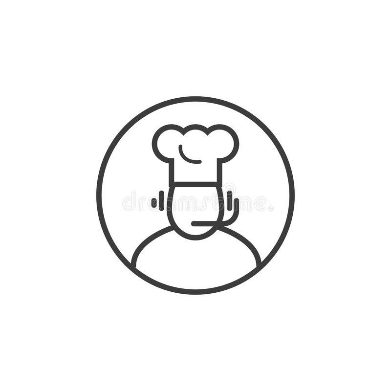 Kreskowej sztuki ikona kucharz admin w round ramie ilustracja wektor