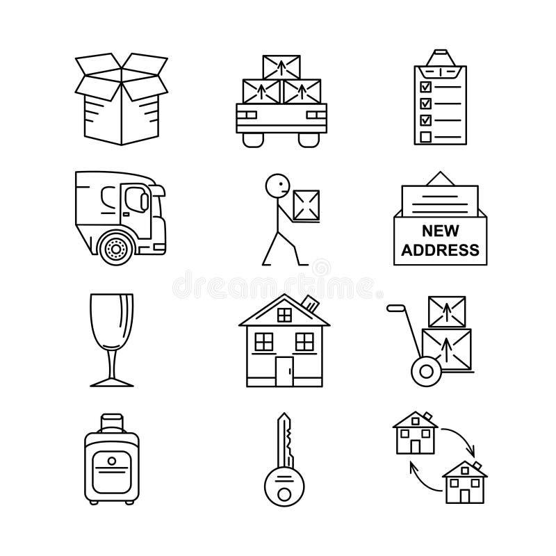 Kreskowej sztuki ikona ustawiająca dla Ruszać się Cienkie kreskowej sztuki ikony Mieszkanie stylowe ilustracje odizolowywać ilustracja wektor