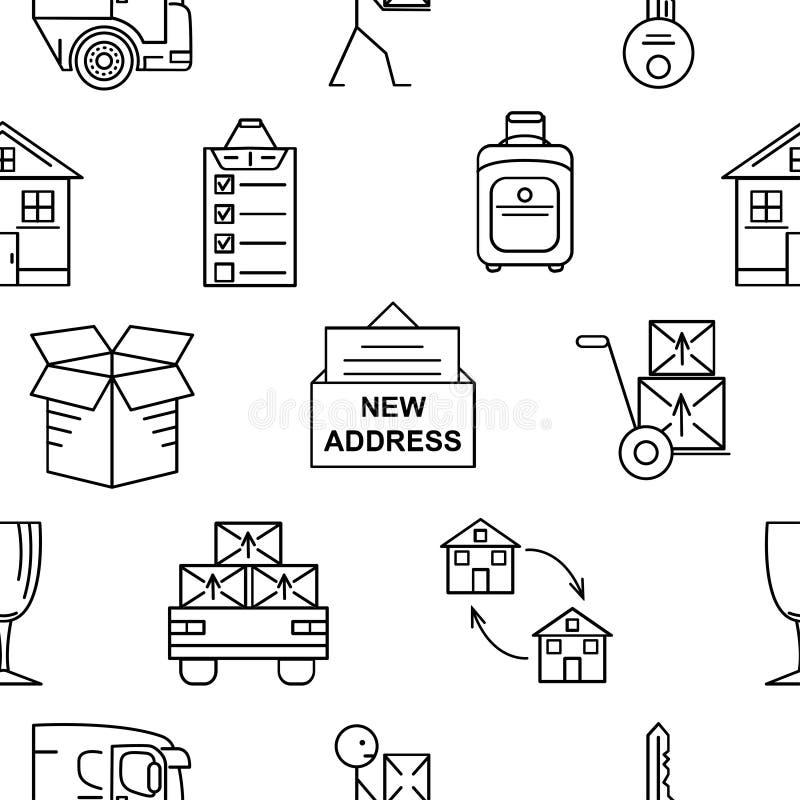 Kreskowej sztuki ikony bezszwowy wzór dla Ruszać się Cienkie kreskowej sztuki ikony Mieszkanie stylowe ilustracje odizolowywać ilustracji
