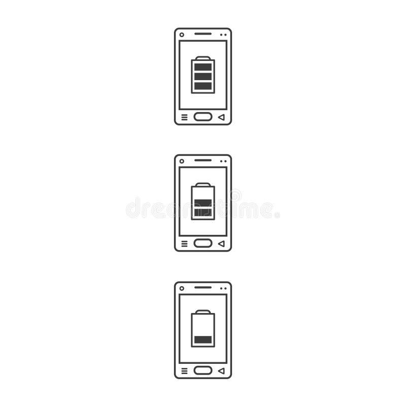 Kreskowej sztuki ikony telefony komórkowi z różnymi poziomami ładować royalty ilustracja