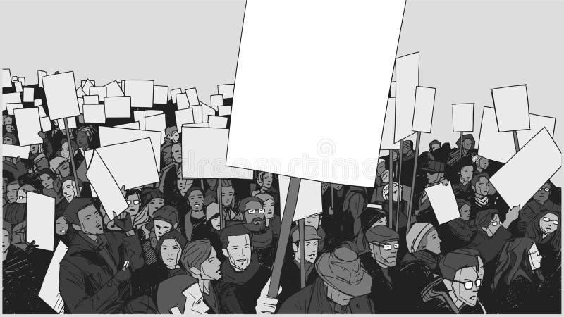 Kreskowej sztuki ilustracja tłumu protest z puste miejsce sztandarami i znakami ilustracja wektor