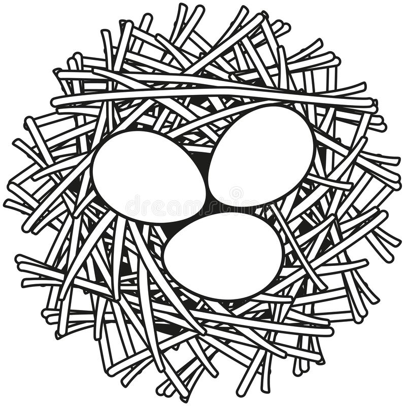 Kreskowej sztuki jajka gniazdeczka ikony czarny i biały plakat royalty ilustracja