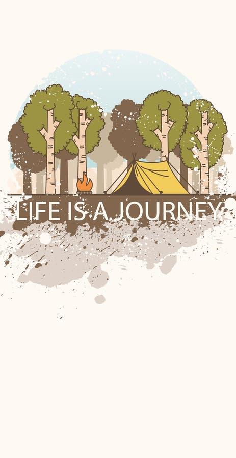 Kreskowej sztuki krajobraz z drzewami, obozu ogieniem i namiotem dekorującymi z folwarczkiem, bryzga ilustracji
