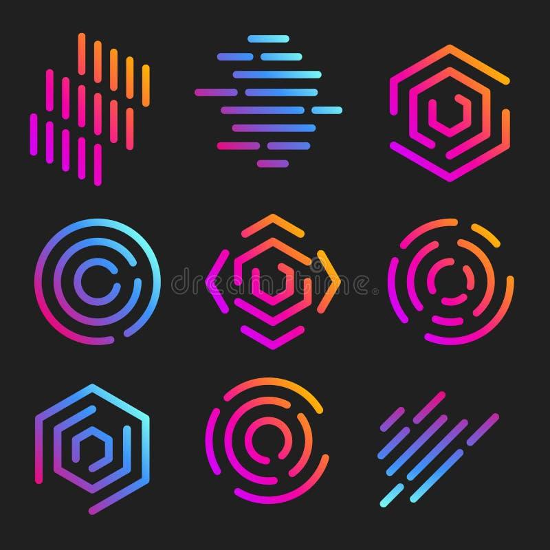 kreskowej sztuki logów szablony Abstrakcjonistyczni liniowi logotypy Kolorowe geometryczne ikony inkasowe Kontur wprowadza innowa royalty ilustracja