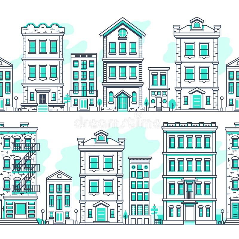 Kreskowej sztuki miasta bezszwowi krajobrazy Konturu budynek mieszkalny, rynku nieruchomości wektoru tło royalty ilustracja