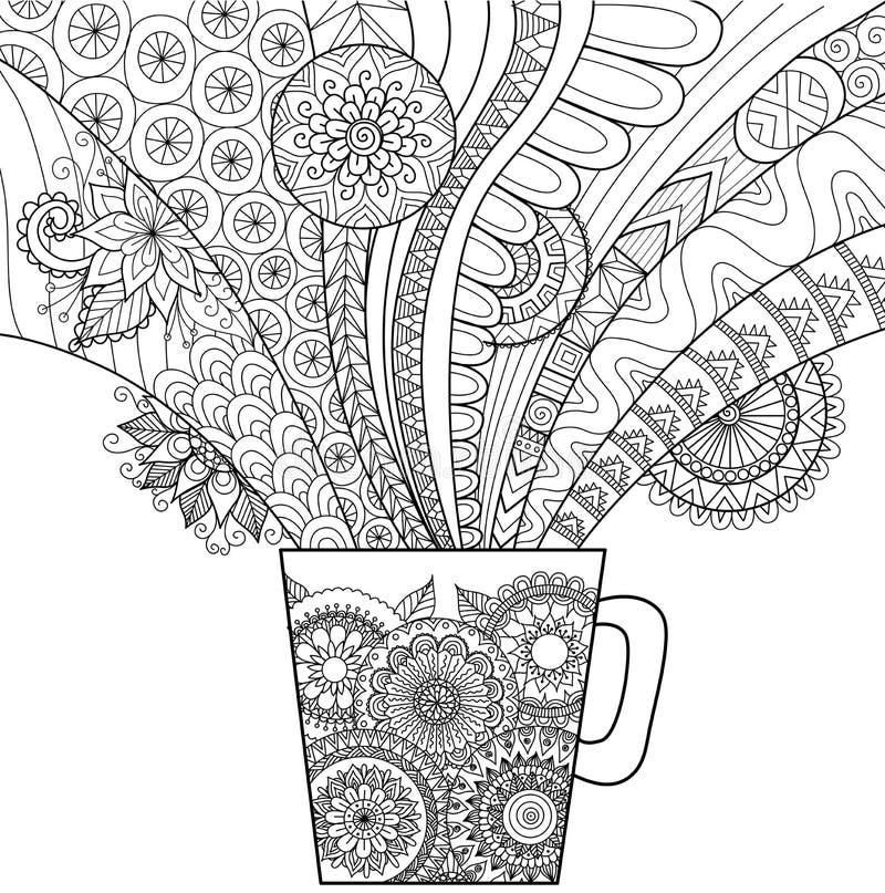 Kreskowej sztuki projekt kubek gorący napój dla kolorystyki książki dla dorosłego i innych dekoracj royalty ilustracja
