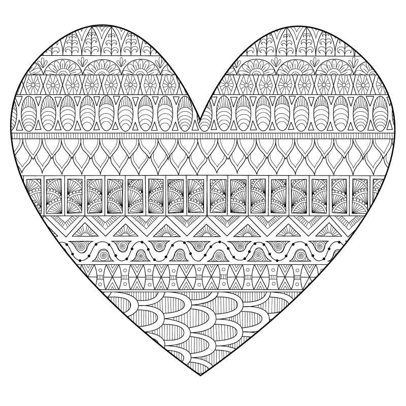 Kreskowej sztuki rysunek w hearted kształcie dla druku i dorosłego kolorystyki strony również zwrócić corel ilustracji wektora royalty ilustracja