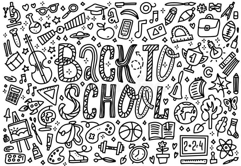 Kreskowej sztuki szkicowa wektorowa ręka rysujący set Z powrotem szkoły kreskówki doodle protestuje Horyzontalny sk?ad jab?ko rez ilustracja wektor