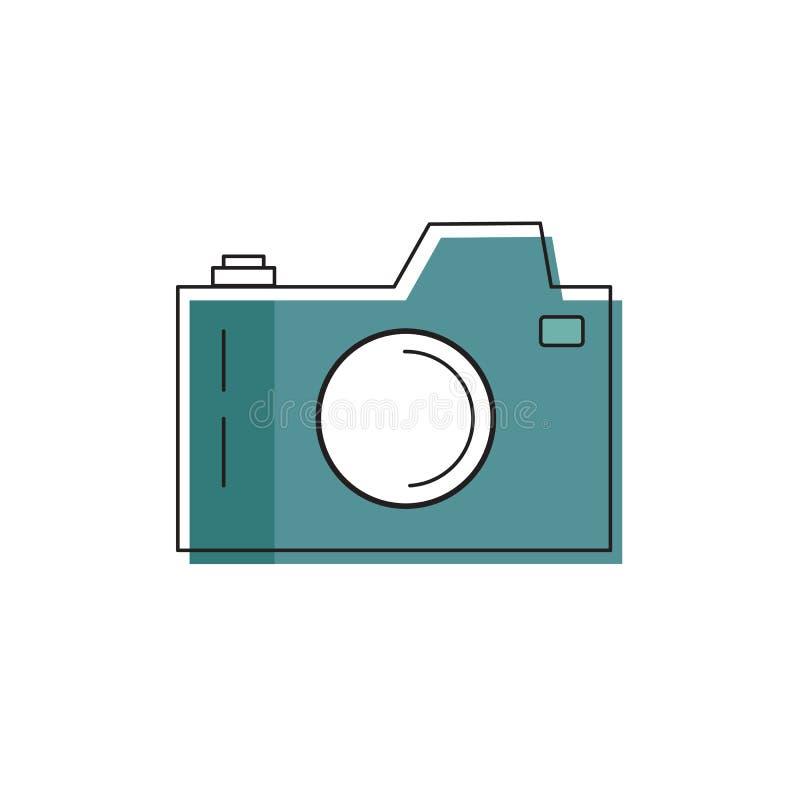 Kreskowej sztuki wektorowa ilustracja fotografii kamera Odsadzka skutka barwić Turkusowego błękita koloru paleta Ikona logo dla z ilustracji