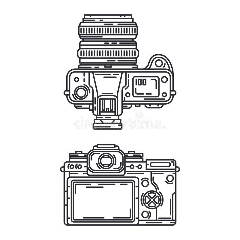 Kreskowej wektorowej ikony slr profesjonalisty ustalona cyfrowa kamera Fotografii sztuka Megapixel photocamera kresk?wka kucharz  ilustracji