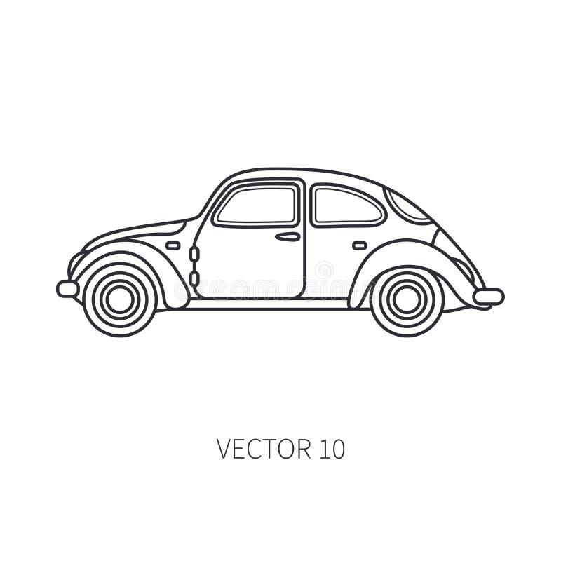 Kreskowej wektorowej ikony turystyki retro samochód Klasyczny 1950s styl Nostalgii subcompact antyka samochód plażowi Formentera  royalty ilustracja